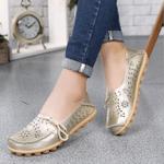 Birkenstock Women's Genuine Leather Hollow Slip On Orthopedic Wide-Fit Moccasin