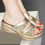 Birkenstock PREMIUM New Summer Glitter PU Wedge Platform Comfortable Birkenstock Sandals For Women