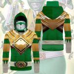 Gearhumans 3D Mighty Morphin Green Power Rangers Custom Bandana Mask Hoodie