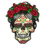 Gearhumans 3D Day Of The Dead Sugar Skull Rose Custom Stickers