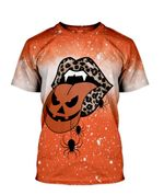 Gearhumans 3D Halloween Leopard Tongue Custom Bleached Shirt