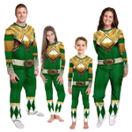 Gearhumans 3D Mighty Morphins Power Ranger Green Custom Family Pajamas
