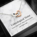 Gearhumans 3D Friendship Day Unbiological Sister Custom Interlocking Hearts Necklace With Message Card