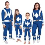 Gearhumans 3D Mighty Morphins Power Ranger Blue Custom Family Pajamas