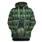 Gearhuman 3D Black Cat Ugly Pattern Tshirt Hoodie