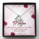 Gearhumans 3D To Mom Mothers Day Gift Double Heart Necklace