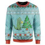 Gearhumans Ugly Christmas Dinosaur Custom Sweater Apparel