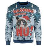 Gearhumans Ugly Christmas Dashing Through Grumpy Cat Custom Sweater Apparel
