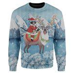 Gearhumans Custom Ugly Cat Christmas Sweater Jumper
