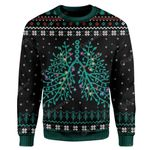 Gearhumans Ugly Respiratory Christmas Lights Custom Sweater Apparel