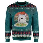 Gearhumans Ugly Christmas Cat Custom Sweater Apparel