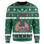 Gearhumans Custom Ugly Christmas Reindeer And Santa Sweater Jumper