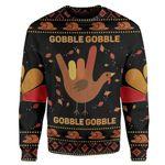 Gearhumans Custom Ugly Gobble Christmas Sweater Jumper
