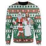 Gearhumans Custom Ugly Santa And Jesus Christmas Sweater Jumper