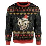 Gearhumans Ugly Christmas Coughing Cat Meme Sweater Apparel