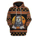 Gearhumans 3D Ugly Sweater Bulldog Halloween Custom Hoodie Apparel