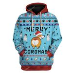 Gearhumans Ugly Christmas Corgi Custom T-shirt - Hoodies Apparel