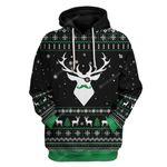 Gearhumans Ugly Christmas Reindeer Custom T-shirt - Hoodies Apparel