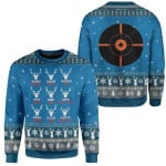 Gearhumans Ugly Christmas Santa's Reindeer Hunting Custom Sweater Apparel