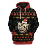 Gearhumans Ugly Christmas Coughing Cat Meme Hoodie T-Shirts Apparel