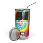 Gearhumans 3D Tie-Dye Hippie Van Custom Design Vacuum Insulated Tumbler