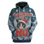 Gearhumans Ugly Christmas Dashing Through Grumpy Cat Custom T-Shirts Hoodies Apparel