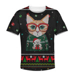 Gearhumans CUTE CAT MERRY CHRISTMAS Kid Custom Hoodies T-shirt Apparel
