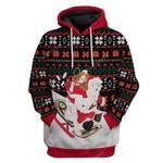 Gearhumans Ugly Christmas Santa & Jesus Sledding Hoodie T-Shirts Apparel