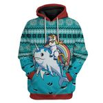 Gearhumans Ugly Unicorn Riding Narwhal Christmas Custom T-Shirts Hoodies Apparel