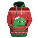 Gearhumans Ugly Christmas Pepe The Frog Custom T-Shirts Hoodies Apparel
