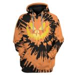 Gearhumans 3D Halloween Pumkin Tie Dye Custom Hoodie Apparel