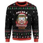 Gearhumans Ugly Christmas Put on a Holiday Face Sweater Apparel