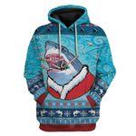 Gearhumans Ugly Santa Shark Biting Candies Christmas Custom T-Shirts Hoodies Apparel