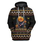 Gearhumans 3D Chucky Trick Or Treat Ugly Sweatshirt Custom Hoodie Apparel