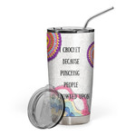 Gearhumans 3D I Crochet Custom Design Vacuum Insulated Glitter Tumbler