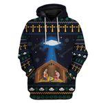 Gearhumans Ugly Jesus Nativity With UFO Star Custom T-shirt - Hoodies Apparel