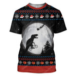 Gearhumans Ugly T Rex chasing Santa To The Moon Custom Hoodie T-Shirts Apparel