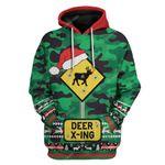 Gearhumans Ugly Deer Xing Christmas Hoodie T-Shirts Apparel