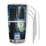 Gearhumans 3D The Starry Night Hippie Van Custom Design Vacuum Insulated Tumbler