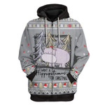 Gearhumans Ugly I Want A Hippopotamus For Christmas Custom T-Shirts Hoodies Apparel