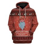 Gearhumans Ugly Christmas Reporting For Duty Hoodie T-Shirts Apparel