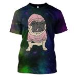 Gearhumans 3d Pet Dog Galaxy Hoodies - T-Shirt Apparel