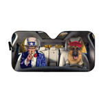 Gearhumans 3D Uncle Sam And German Shepherds Custom Car Auto Sunshade