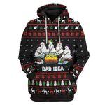 Gearhumans Ugly Christmas Melting Snow Man Camping Bad Idea Hoodie T-Shirts Apparel