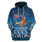 Gearhumans Ugly Santa Kitten Riding Rein Puppies Christmas Custom T-Shirts Hoodies Apparel