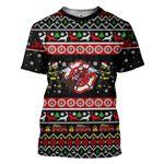 Gearhumans 3D Xmas Firefighter Ugly Christmas Sweater Custom Tshirt Apparel