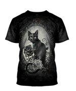 Gearhumans 3D Halloween Black Cat Skull Witchy Custom Bleached Tshirt