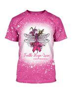 Gearhumans 3D Dragonfly Faith Hope Love Breast Cancer Awareness Custom Bleached Tshirt