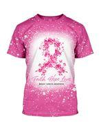 Gearhumans 3D Butterfly Faith Hope Love Breast Cancer Awareness Custom Bleached Tshirt
