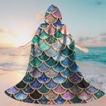 Gearhumans 3D The Most Blue Sparkle Mermaid Tail In The Ocean Custom Hooded Cloak